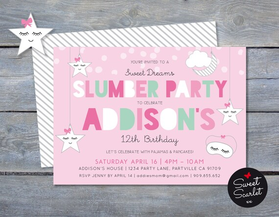Slumber Party Invitation Pajama Birthday Party Pajamas And Etsy