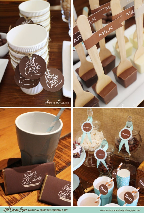 Hot Cocoa Bar Printables Cupcake Toppers Party Signs