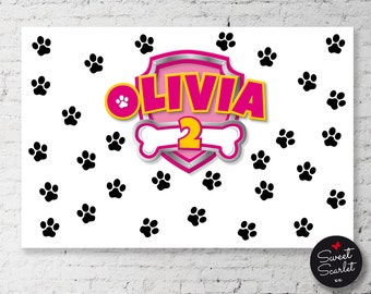 PAW PATROL Backdrop Design for Birthday Party - Printable File - DIY Print - Skye - Choose your size and color - Paw Patrol Puppy Party