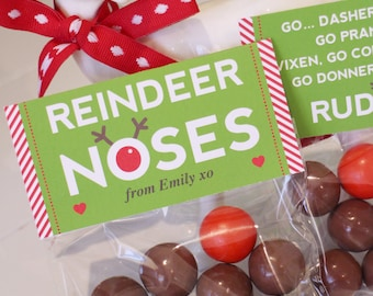 BAG TOPPERS Rudolph Reindeer Noses Favor Bags - 4in wide Editable - Printable File - Print Your Own