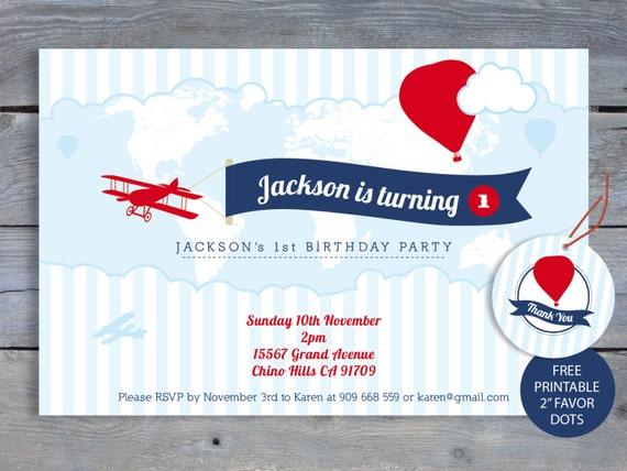 AIRPLANE Birthday Invitation - 1st Birthday Party - 6x4 Printable file. FREE Favor Tags