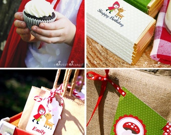LITTLE Red Riding Hood Printable Set - Cupcake Toppers, Bottle Labels, Favor Tags & more