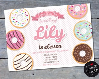 DONUT Party Invitation for Birthday Party - Personalized - 4x6 or 5x7 - Print Your Own - DIY