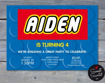 """BUILDING BRICKS Invitation for Birthday Party - Printable File - Personalized File - 5""""w x 7""""h - You Print - LEGO  - Legos - Lego Friends"""