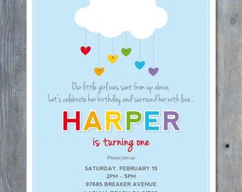 """RAINBOW Party Invitation - Printable File - Personalized - 7""""x5"""" - Print Your Own - DIY"""