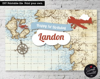 VINTAGE Airplane Printable BACKDROP Artwork -Digital file. Print your own.