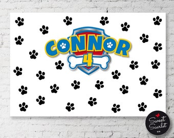 PAW PATROL Backdrop Design for Birthday Party - Printable File - DIY Print - Choose your size - Paw Patrol Paw Print Inspired Puppy Party