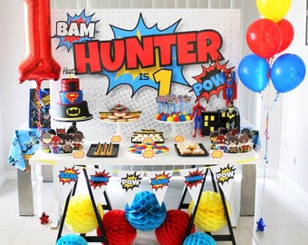 SUPERHERO Backdrop Design for Birthday Party - Printable File - Print Your Own - Avengers Inspired