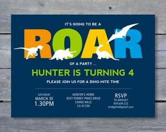 "DINOSAUR Party Invitation - Dinosaur Birthday - Personalized - 7""x5"" - Print Your Own - DIY"
