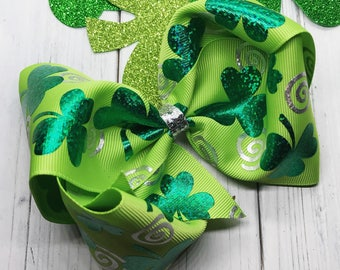 Shamrock Bow~ St. Patrick's Day Bow~ Boutique Bow~ Big Bow~ Green Bow