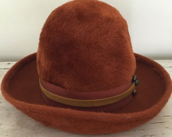 f81ef4bd76b Vintage Felt Faux Fur Bowler Hat Orange Rust