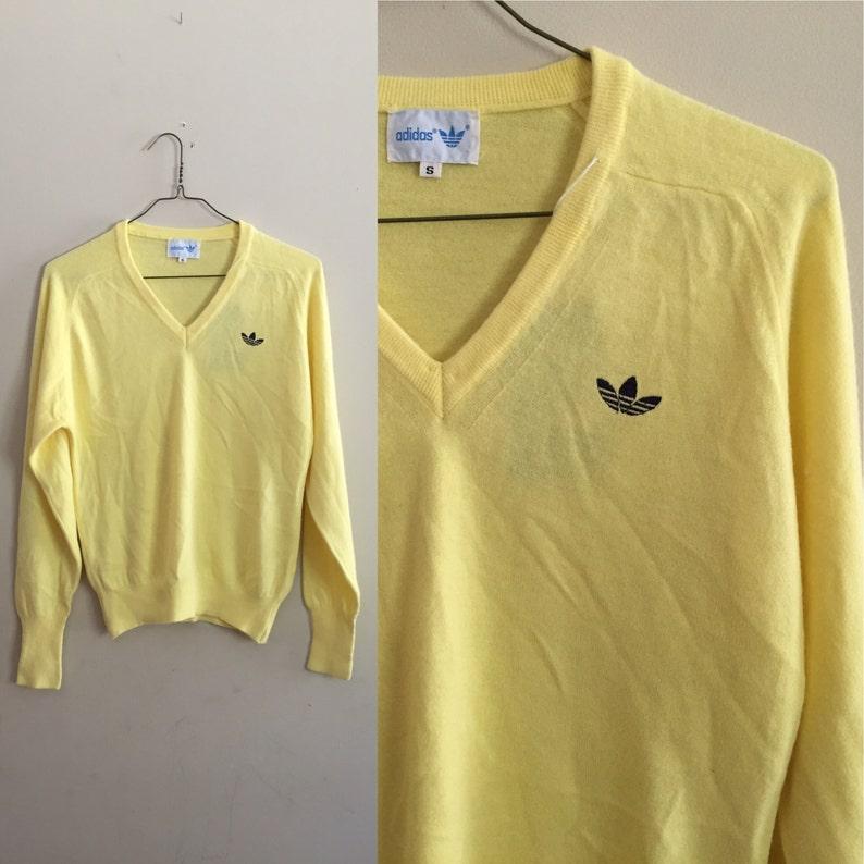 Vintage Yellow Adidas Trefoil Super Soft Sweater Men's Small
