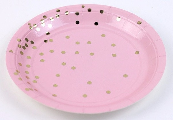 Pink Gold Paper Plates Party Plates Dessert Plates Paper Tableware Pink Birthday Decor Baby Shower for Girl Bridal Shower Cake Party & Pink Gold Paper Plates Party Plates Dessert Plates Paper ...