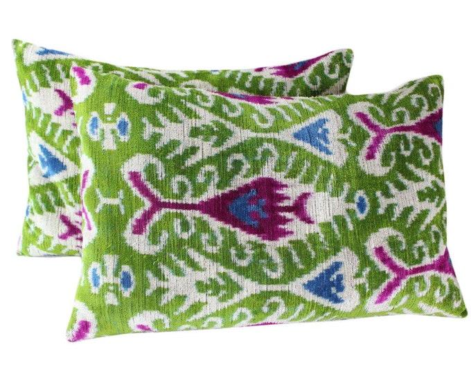 Set of 2 Silk Velvet Ikat Pillow Covers VP67s, Bohemian pillow, Velvet Ikat Pillow, Velvet Pillow, Velvet Pillow Cover, Ikat Pillows