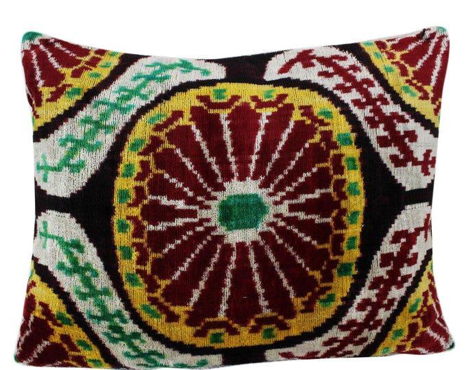 Silk Velvet Ikat Pillow Cover VP22, Bohemian pillow, Velvet Ikat Pillow, Velvet Pillow, Velvet Pillow Cover, Ikat Pillows, Throw Pillows