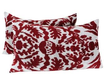 Set of 2 Silk Velvet Ikat Pillow Covers VP91s, Bohemian pillow, Velvet Ikat Pillow, Velvet Pillow, Velvet Pillow Cover, Ikat Pillows