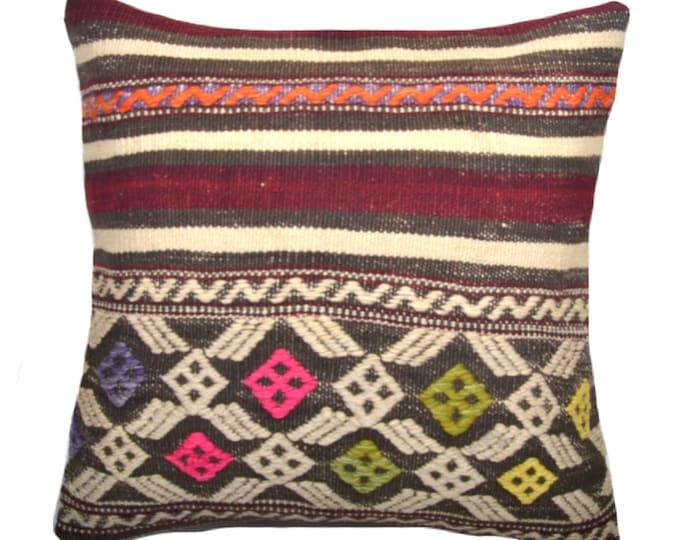 Kilim Pillow Cover, Kilim Pillow, Bohemian Pillow, Kilim Cushions, Turkish Kilim, Decorative Pillows, Wool Pillow, KP2 (tp137)
