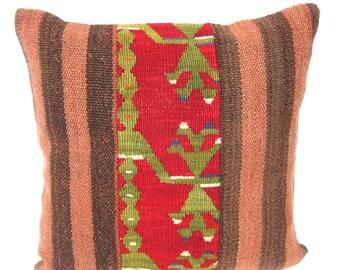 Kilim Pillow Cover, Kilim Pillow, Bohemian Pillow, Kilim Cushions, Turkish Kilim, Decorative Pillows, Wool Pillow, KP3