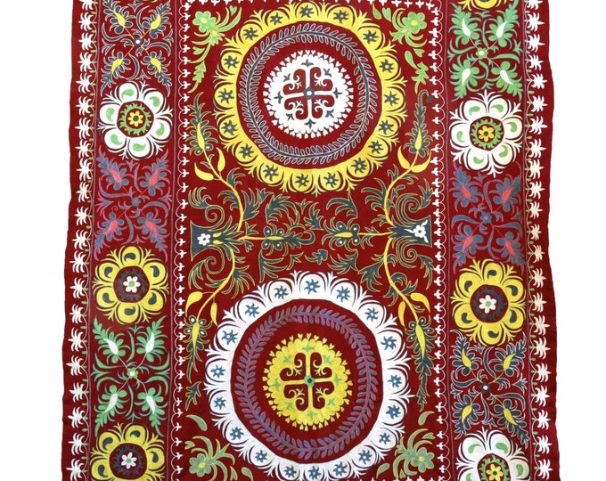 New Handmade Silk Suzani NS1 (ES111), Suzani Tapestry, Suzani Wall Hanging, Suzani Bedspread, Suzani Blanket, Suzani Bedding, Suzani