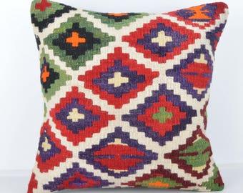 Wool Pillow, Kilim Pillow,  Decorative Pillows, Designer Pillows,  Bohemian Pillow, Accent Pillows, Throw Pillows, KP39 (tp1076)