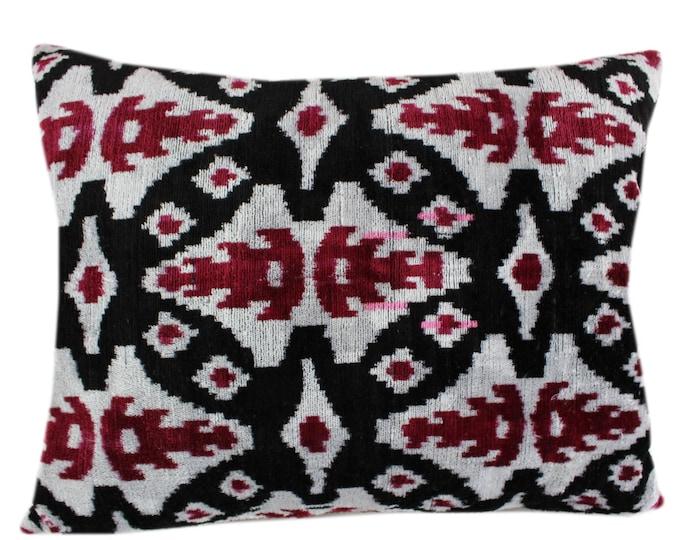 Silk Velvet Ikat Pillow Cover VP12, Bohemian pillow, Velvet Ikat Pillow, Velvet Pillow
