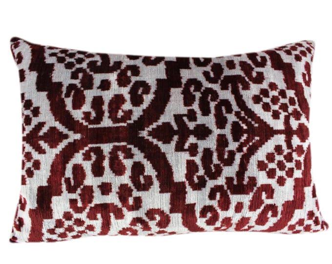 Silk Velvet Ikat Pillow Cover VP13, Bohemian pillow, Velvet Ikat Pillow, Velvet Pillow