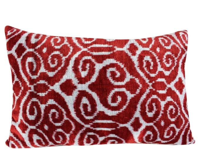 Silk Velvet Ikat Pillow Cover VP10, Bohemian pillow, Velvet Ikat Pillow, Velvet Pillow