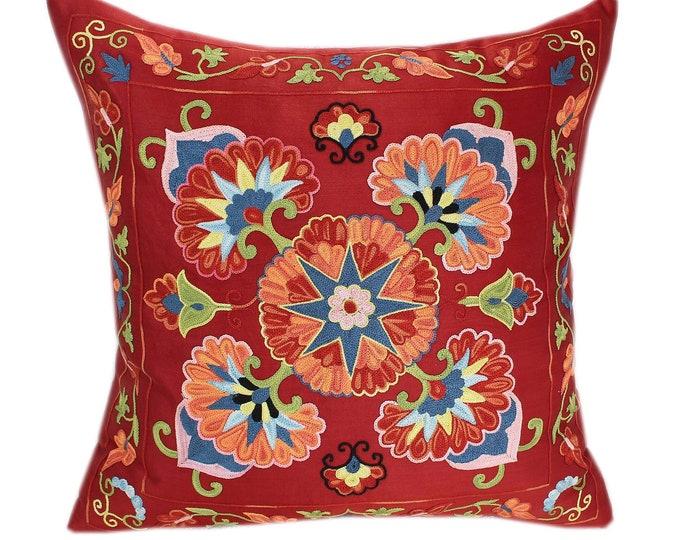Handmade Suzani Silk Pillow Cover SP78, Suzani Pillow, Uzbek Suzani, Suzani Throw, Suzani, Decorative pillows, Accent pillows