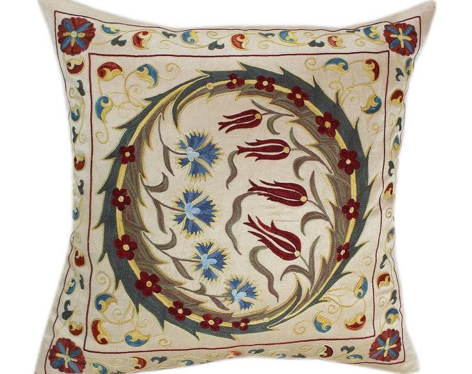 Handmade Suzani Silk Pillow Cover SP77, Suzani Pillow, Uzbek Suzani, Suzani Throw, Suzani, Decorative pillows, Accent pillows
