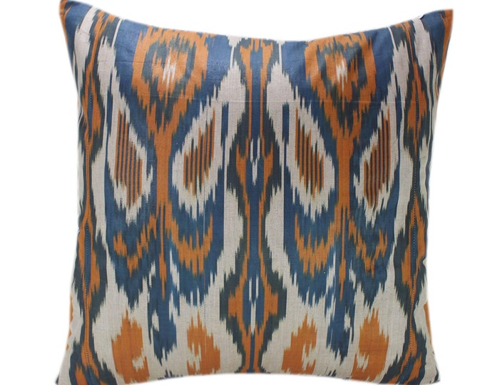Cotton Ikat Pillow, Hand Dyed Ikat Pillow Cover,  IP241, Ikat throw pillows, Designer pillows, Decorative pillows, Accent pillows