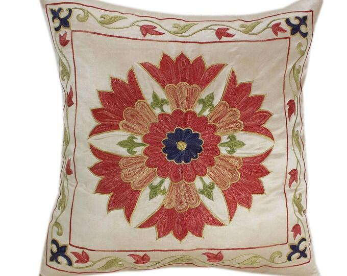 Handmade Suzani Silk Pillow Cover SP81, Suzani Pillow, Uzbek Suzani, Suzani Throw, Suzani, Decorative pillows, Accent pillows
