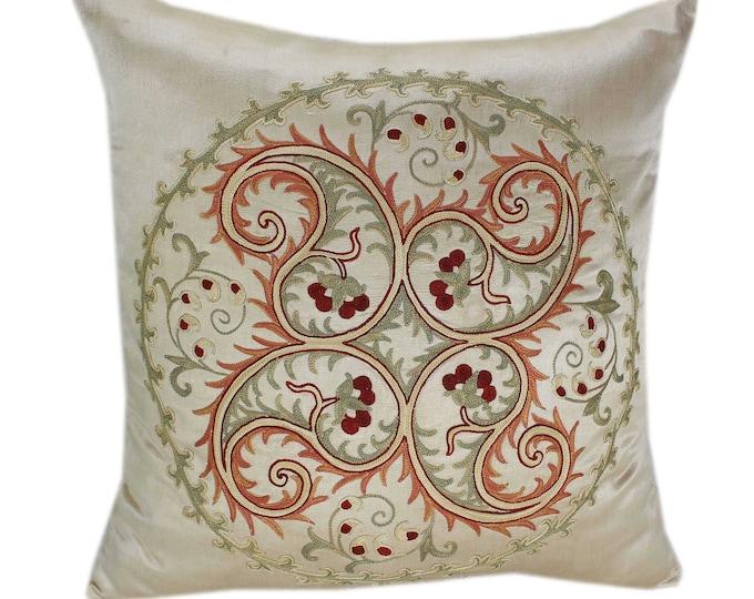 Handmade Suzani Silk Pillow Cover SP74, Suzani Pillow, Uzbek Suzani, Suzani Throw, Suzani, Decorative pillows, Accent pillows