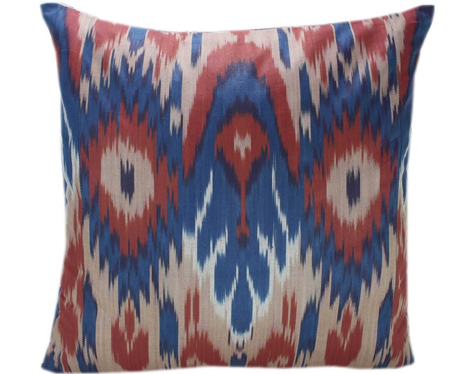 Cotton Ikat Pillow, Hand Dyed Ikat Pillow Cover,  IP238, Ikat throw pillows, Designer pillows, Decorative pillows, Accent pillows
