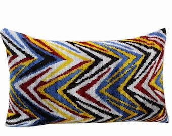Silk Velvet Ikat Pillow Cover VP215, Bohemian pillow, Velvet Ikat Pillow, Velvet Pillow, Velvet Pillow Cover, Ikat Pillows, Throw Pillows