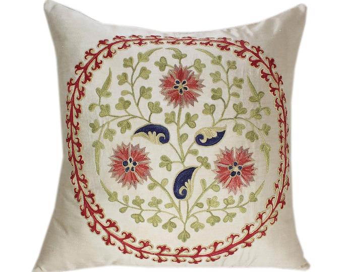 Handmade Suzani Silk Pillow Cover SP76, Suzani Pillow, Uzbek Suzani, Suzani Throw, Suzani, Decorative pillows, Accent pillows