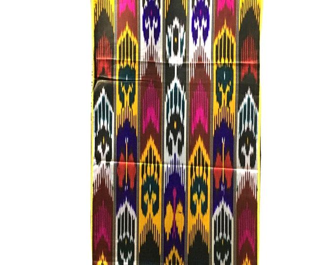 Silk Ikat Fabric, Ikat Fabric by the yard, Hand Woven Fabric , F-A503