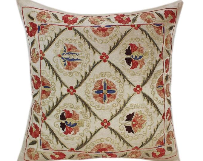 Handmade Suzani Silk Pillow Cover SP79, Suzani Pillow, Uzbek Suzani, Suzani Throw, Suzani, Decorative pillows, Accent pillows