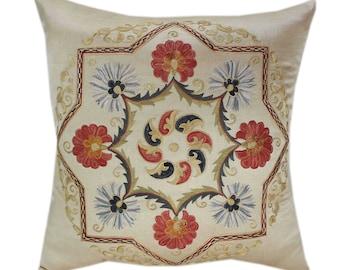 Handmade Suzani Silk Pillow Cover SP84, Suzani Pillow, Uzbek Suzani, Suzani Throw, Suzani, Decorative pillows, Accent pillows