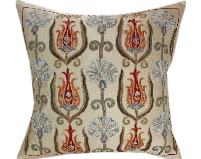Handmade Suzani Silk Pillow Cover SP82, Suzani Pillow, Uzbek Suzani, Suzani Throw, Suzani, Decorative pillows, Accent pillows