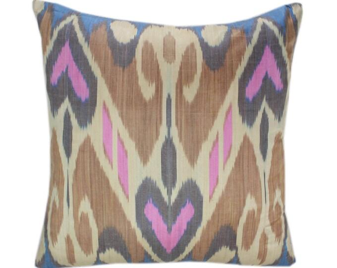 Ikat Cushion, Silk Ikat Pillow, Hand Dyed Ikat Pillow Cover,  IP367, Designer pillows, Decorative pillows, Accent pillows