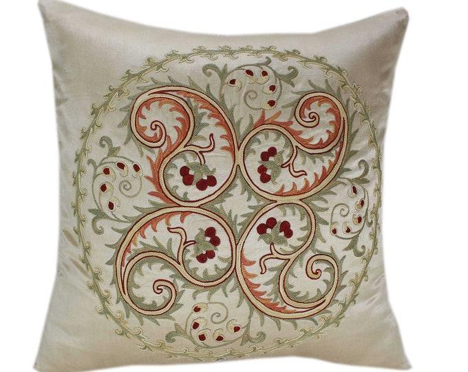 Handmade Suzani Silk Pillow Cover SP75, Suzani Pillow, Uzbek Suzani, Suzani Throw, Suzani, Decorative pillows, Accent pillows