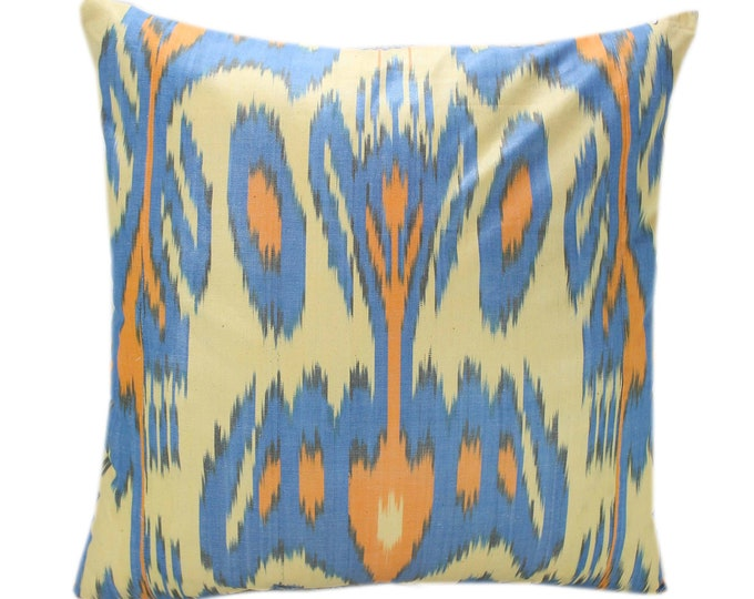 Cotton Ikat Pillow, Hand Dyed Ikat Pillow Cover,  IP232, Ikat throw pillows, Designer pillows, Decorative pillows, Accent pillows