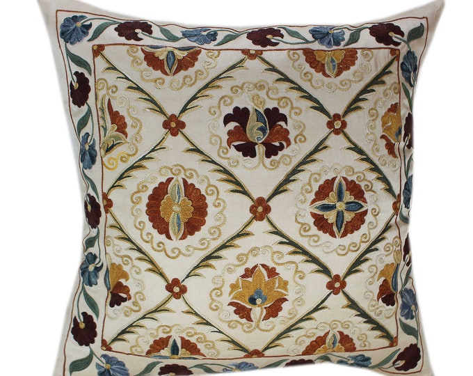 Handmade Suzani Silk Pillow Cover SP87, Suzani Pillow, Uzbek Suzani, Suzani Throw, Suzani, Decorative pillows, Accent pillows