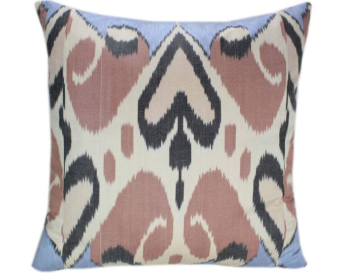 Ikat Cushion, Silk Ikat Pillow, Hand Dyed Ikat Pillow Cover,  IP366, Designer pillows, Decorative pillows, Accent pillows