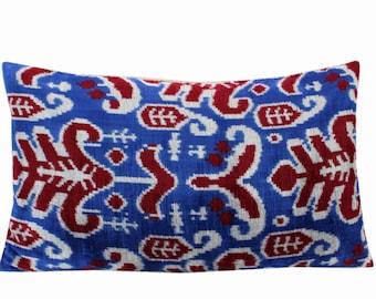 Silk Velvet Ikat Pillow Cover VP214, Bohemian pillow, Velvet Ikat Pillow, Velvet Pillow, Velvet Pillow Cover, Ikat Pillows, Throw Pillows