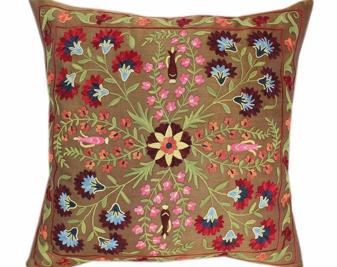 Handmade Suzani Silk Pillow Cover SP80, Suzani Pillow, Uzbek Suzani, Suzani Throw, Suzani, Decorative pillows, Accent pillows