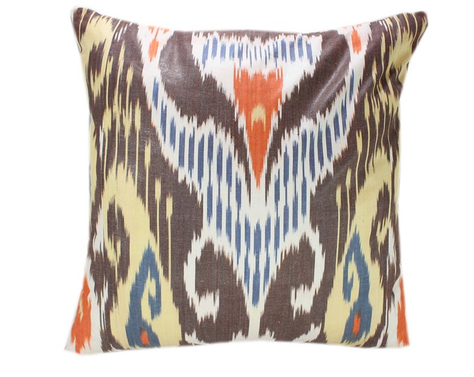 Cotton Ikat Pillow, Hand Dyed Ikat Pillow Cover,  IP243, Ikat throw pillows, Designer pillows, Decorative pillows, Accent pillows