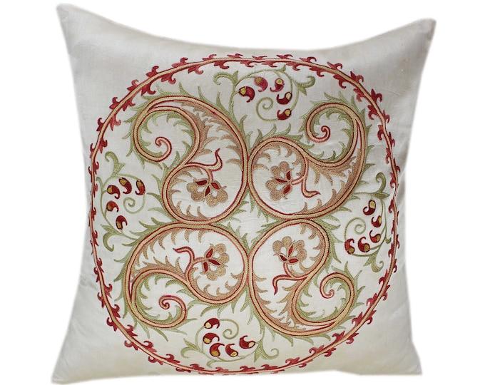 Handmade Suzani Silk Pillow Cover SP72, Suzani Pillow, Uzbek Suzani, Suzani Throw, Suzani, Decorative pillows, Accent pillows