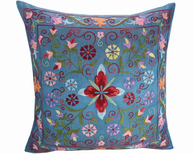 Handmade Suzani Pillow Cover SP92, Suzani Pillow, Uzbek Suzani, Suzani Throw, Suzani, Decorative pillows, Accent pillows