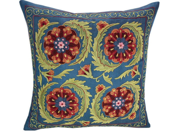 Handmade Suzani Pillow Cover SP91, Suzani Pillow, Uzbek Suzani, Suzani Throw, Suzani, Decorative pillows, Accent pillows